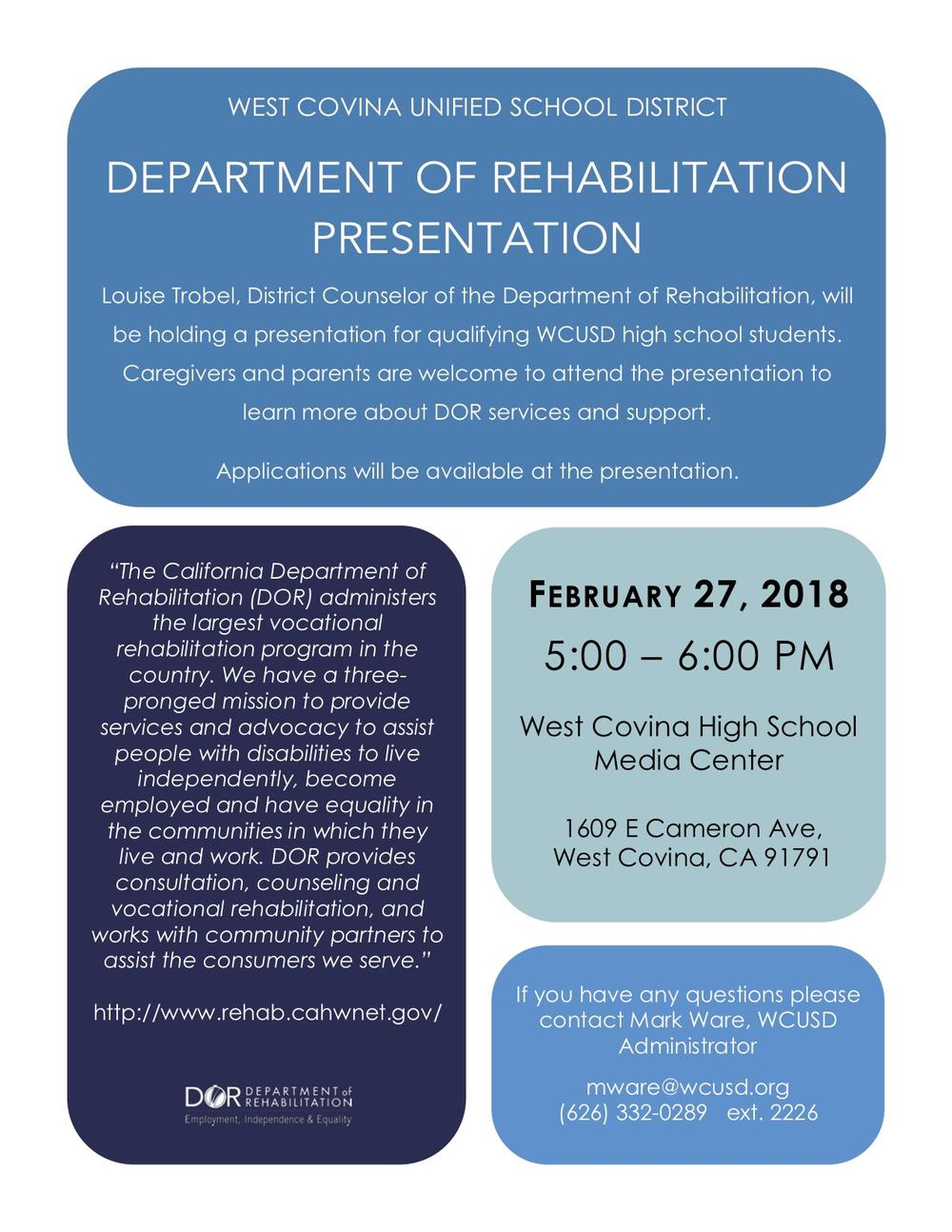 The Department of Rehabilitation will hold a presentation to learn about DOR services and support.