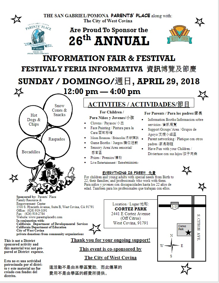 26th Annual Information Fair and Festival parents, caregivers, and professionals who work with children or young adults with disabilities.