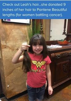 Our kinder student donated her hair to the cancer foundation